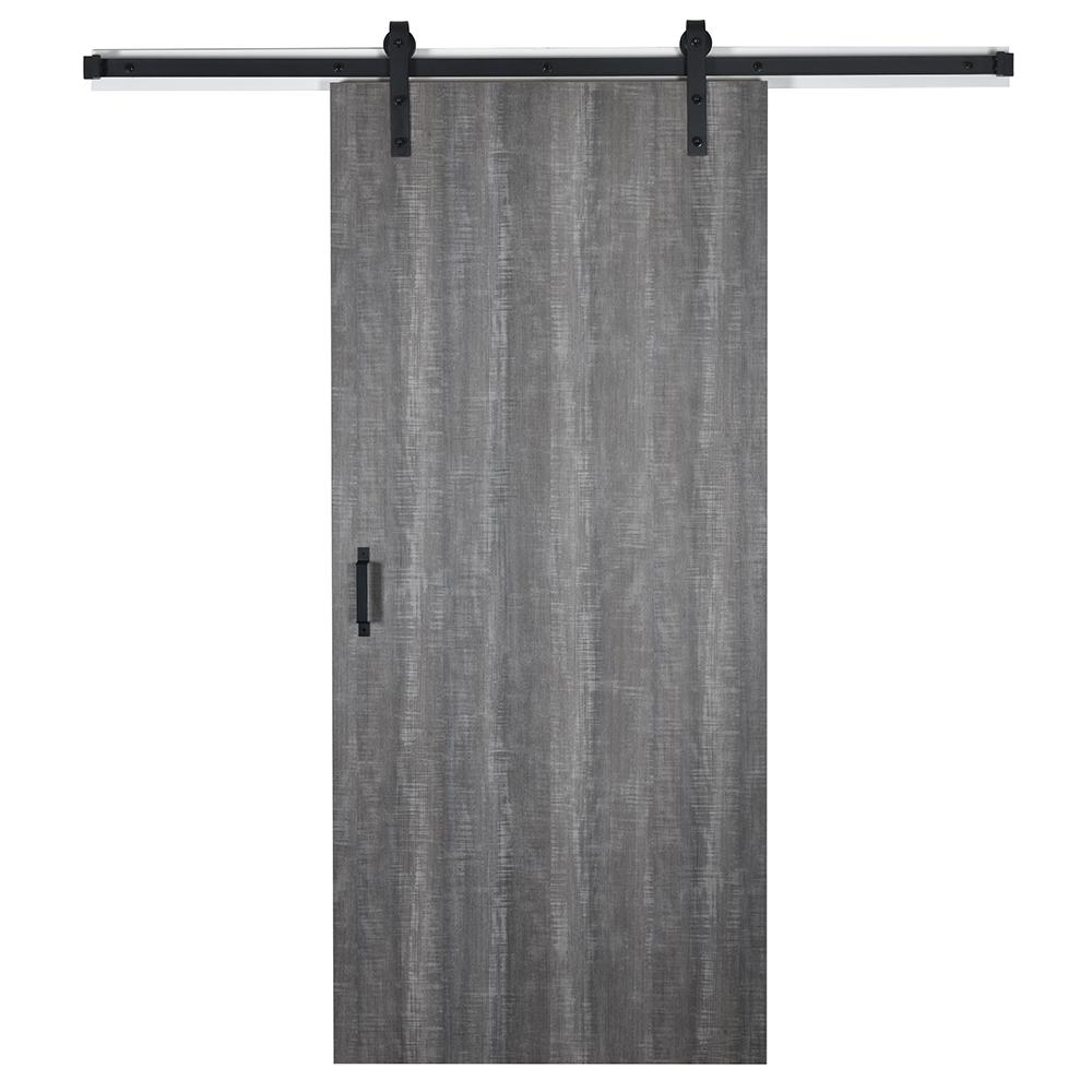 EnVivo EnVivo 37 in. x 84 in. Weathered Char 8204-16 Solid Core Wood Flush Barn Door with Sliding Door Hardware Kit
