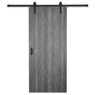 43 in. x 84 in. Weathered Char 8204-16 Solid Core Wood Flush Barn Door with Sliding Door Hardware Kit