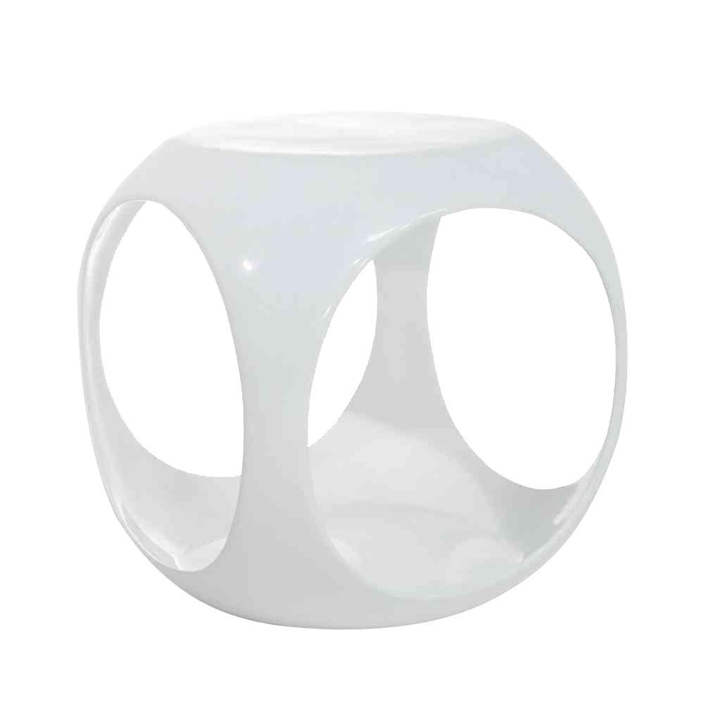 Slick Cube White End Table