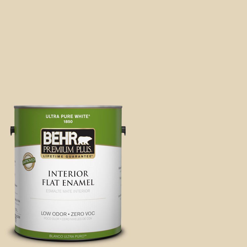 BEHR Premium Plus 1-gal. #760C-3 Wild Honey Zero VOC Flat Enamel Interior Paint-DISCONTINUED