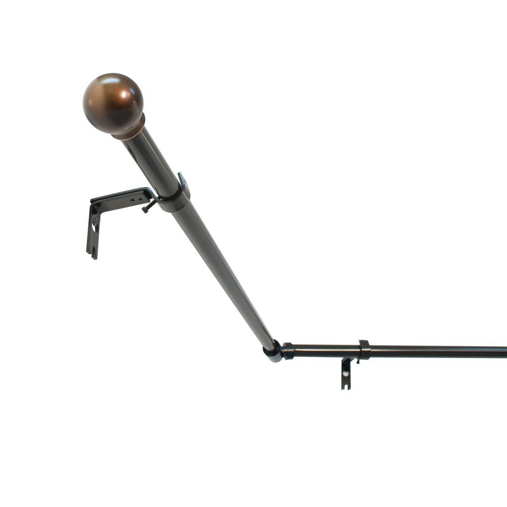 3/4 in. Bay Window Ball Drapery Single Rod Set in Oil Rubbed Bronze
