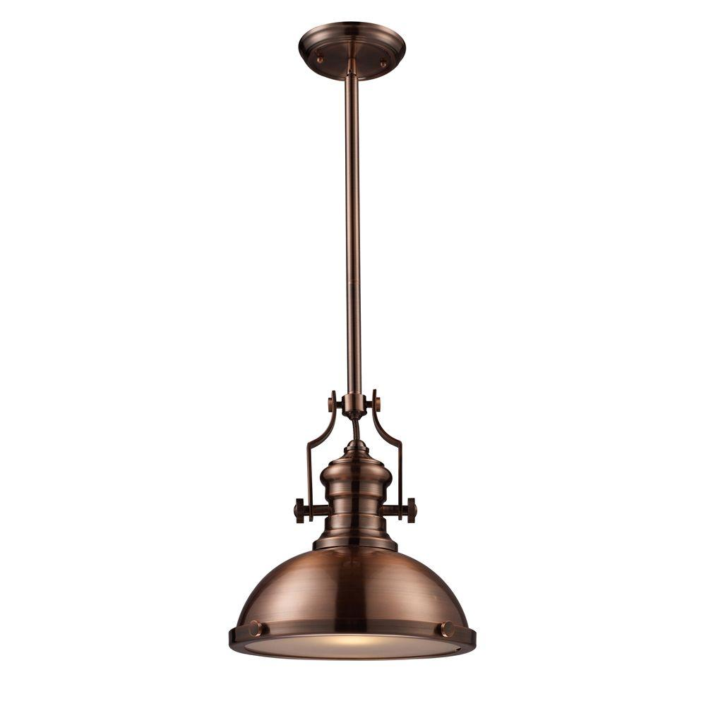 Titan Lighting Chadwick 1 Light Antique Copper Ceiling Mount Pendant