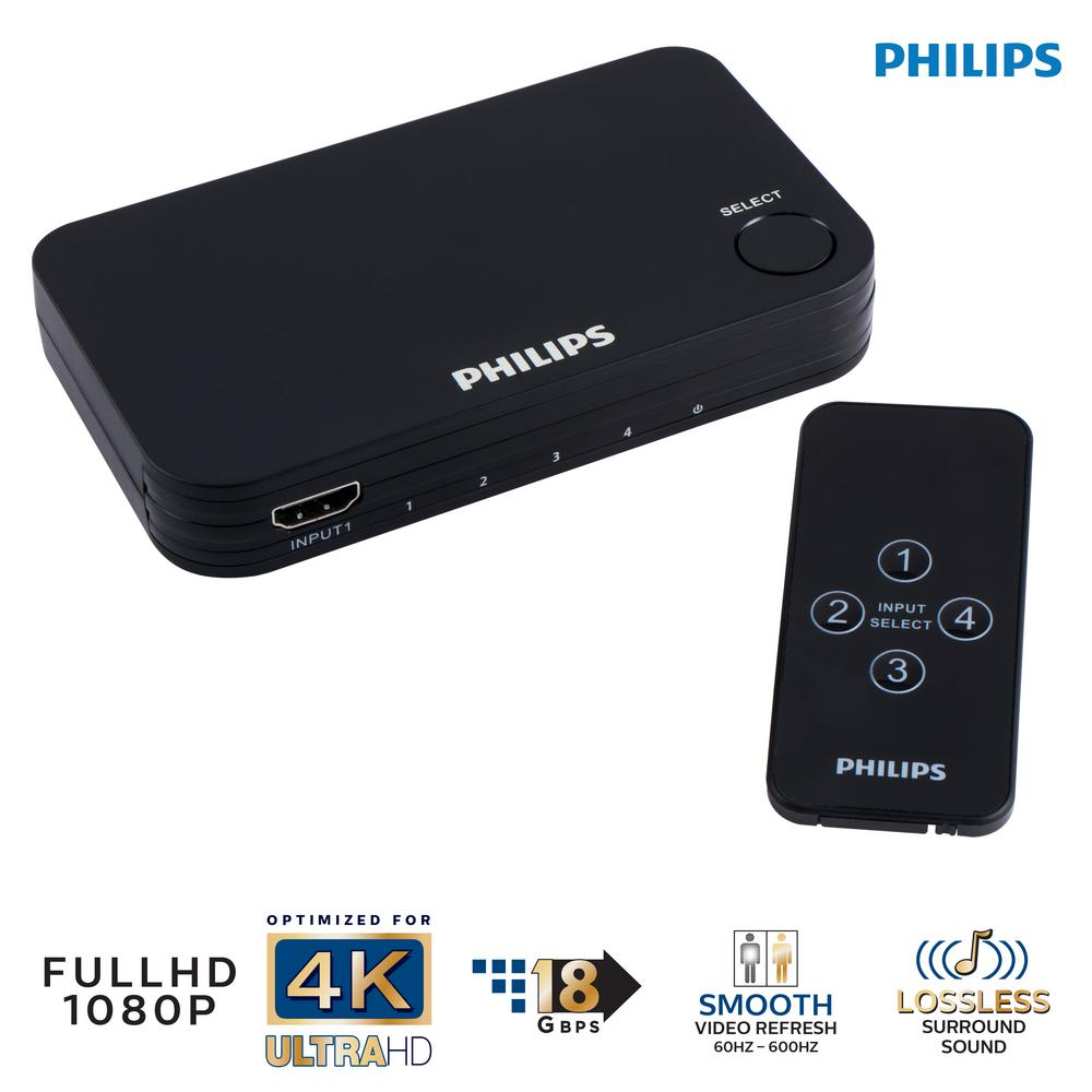 4-Port Hdmi Splitter Switch with Wireless Remote Control Expand one HDMI input into 4 with the Philips HDMI Switch. This switch will work with HDMI devices like your Blu-ray / DVD player, cable/satellite box, video game console, and more.Conveniently switch between input devices with the included wireless remote or manually via the button on the switch itself. This switch will also work with Philips branded universal remotes (2018 models and beyond) and can support Full HD resolution and video up to 4K at 60 fps.