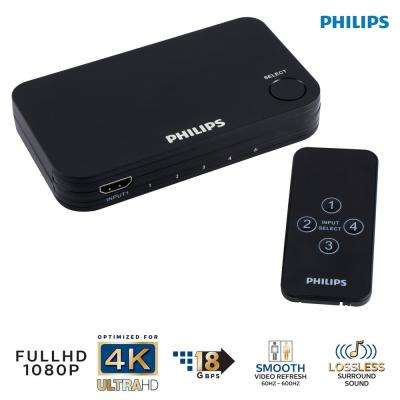 4-Port HDMI Splitter Switch with Wireless Remote Control