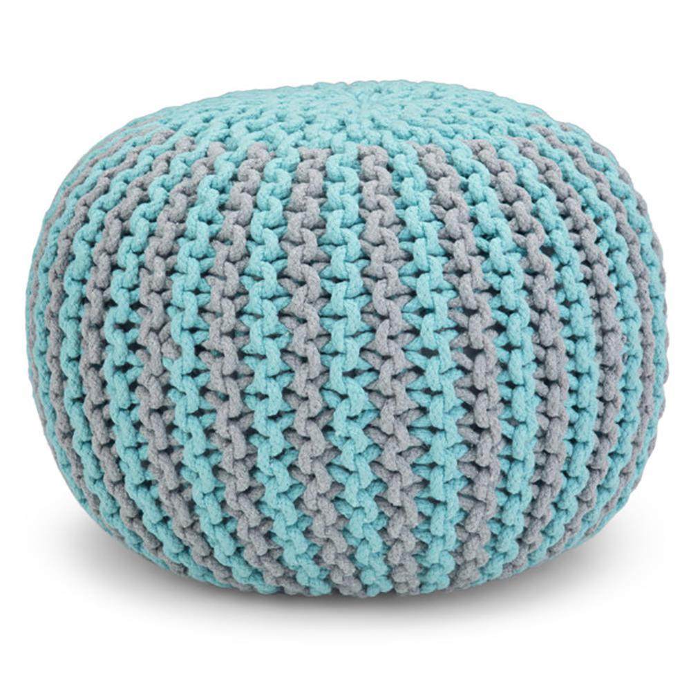 Celia Contemporary Round Hand Knit Pouf in Aqua and Grey Cotton