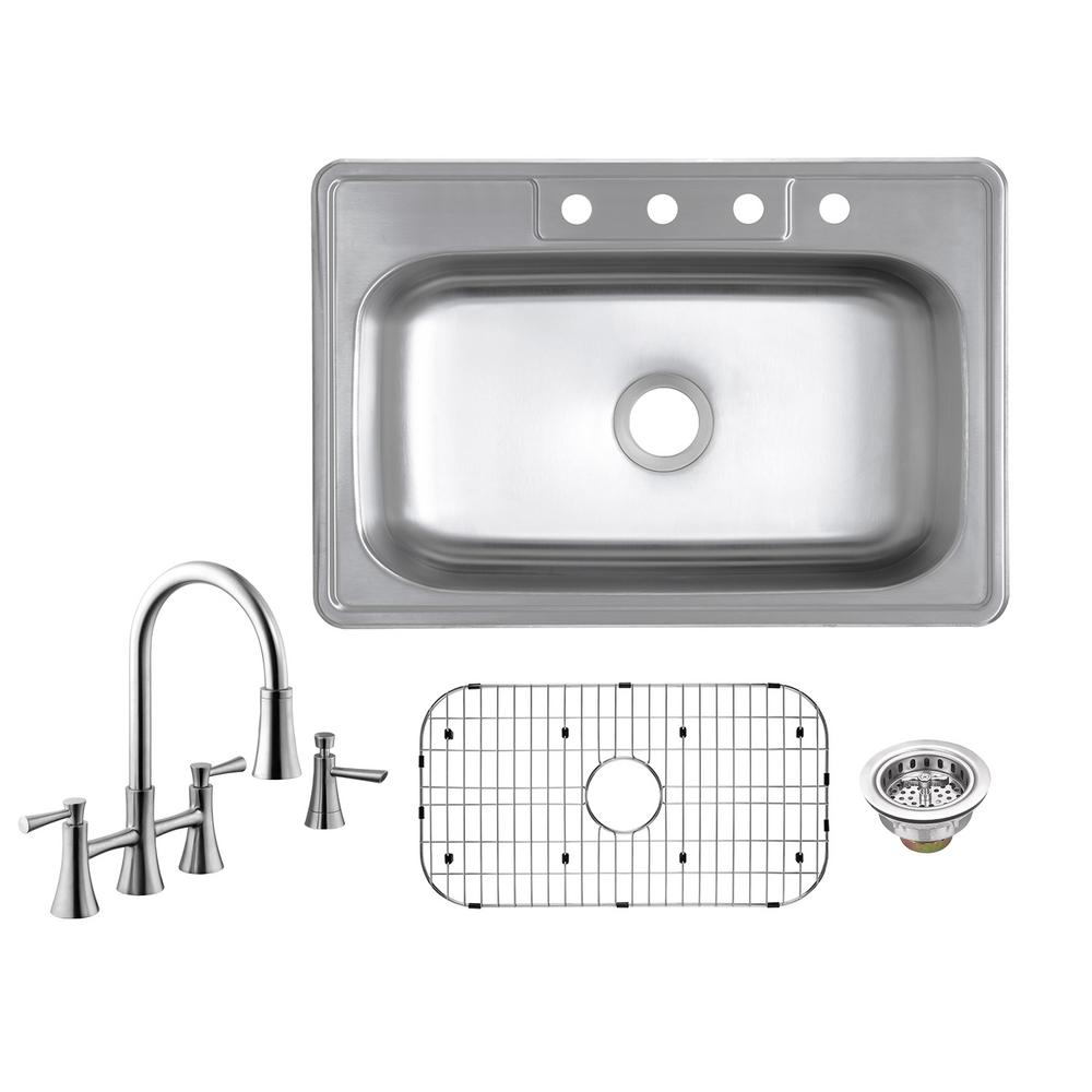 Glacier bay all in one drop in 20 gauge stainless steel 33 - Glacier bay drop in bathroom sink ...
