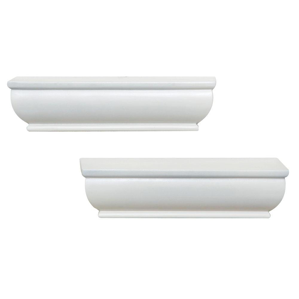 Home Decorators Collection 4 in. D x 8 in. L x 1-3/4 in. H White Floating Ledge (2-Pack)