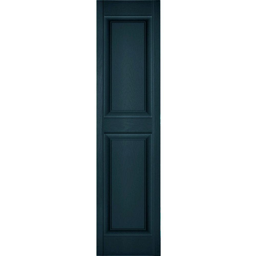 Ekena Millwork 12 in. x 28 in. Lifetime Vinyl Custom 2 Equal Raised Panel Shutters Pair Midnight Blue