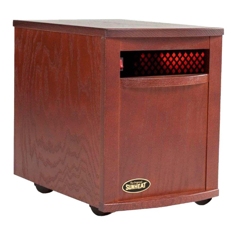 1500-Watt 6-Element Large Room Infrared Portable Heater - Mahogany Cabinet