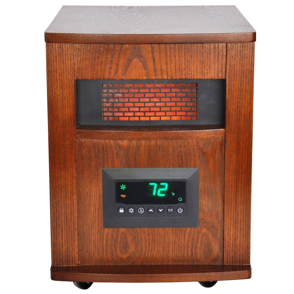 Lifesmart 1500-Watt 6-Element Infrared Room Heater with Oak Cabinet and  Remote