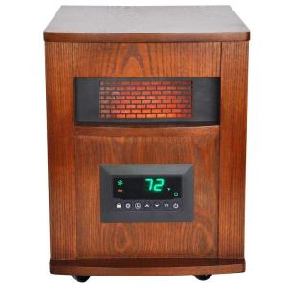 lifesmart 1500 watt 6 element infrared room heater with oak cabinet rh homedepot com