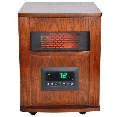 1500-Watt 6-Element Infrared Room Heater with Oak Cabinet and Remote