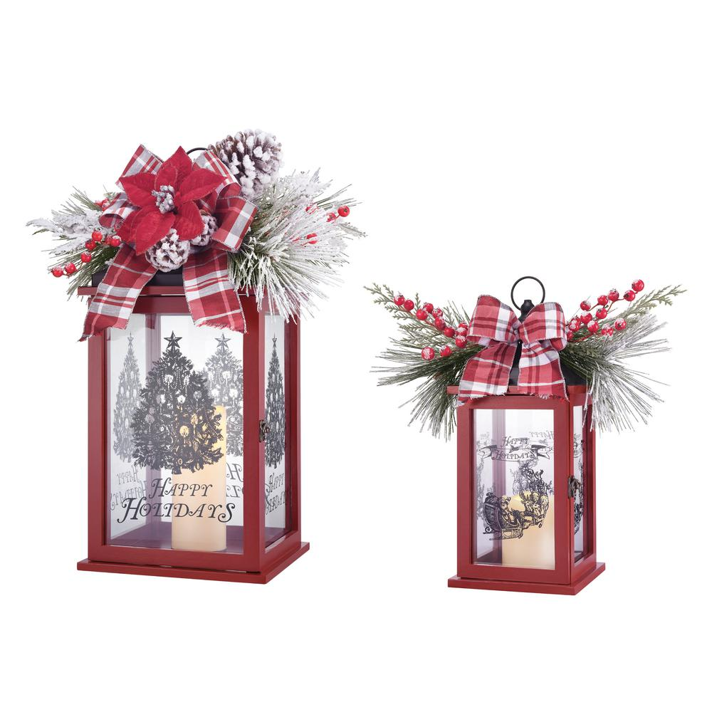 Home Accents Holiday 21 in. LED Flameless Candle Lantern Set