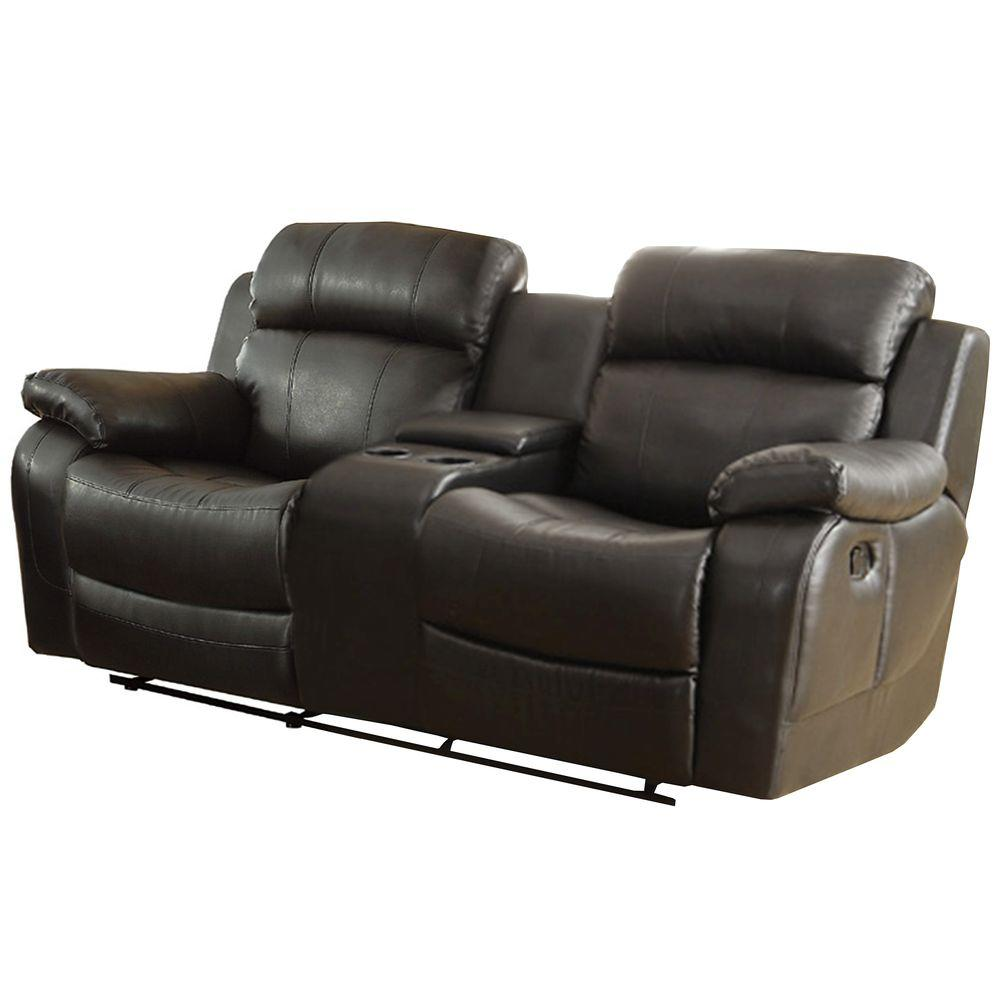 Homesullivan kenwood black bonded leather loveseat 409724blk 2 the home depot Loveseat black
