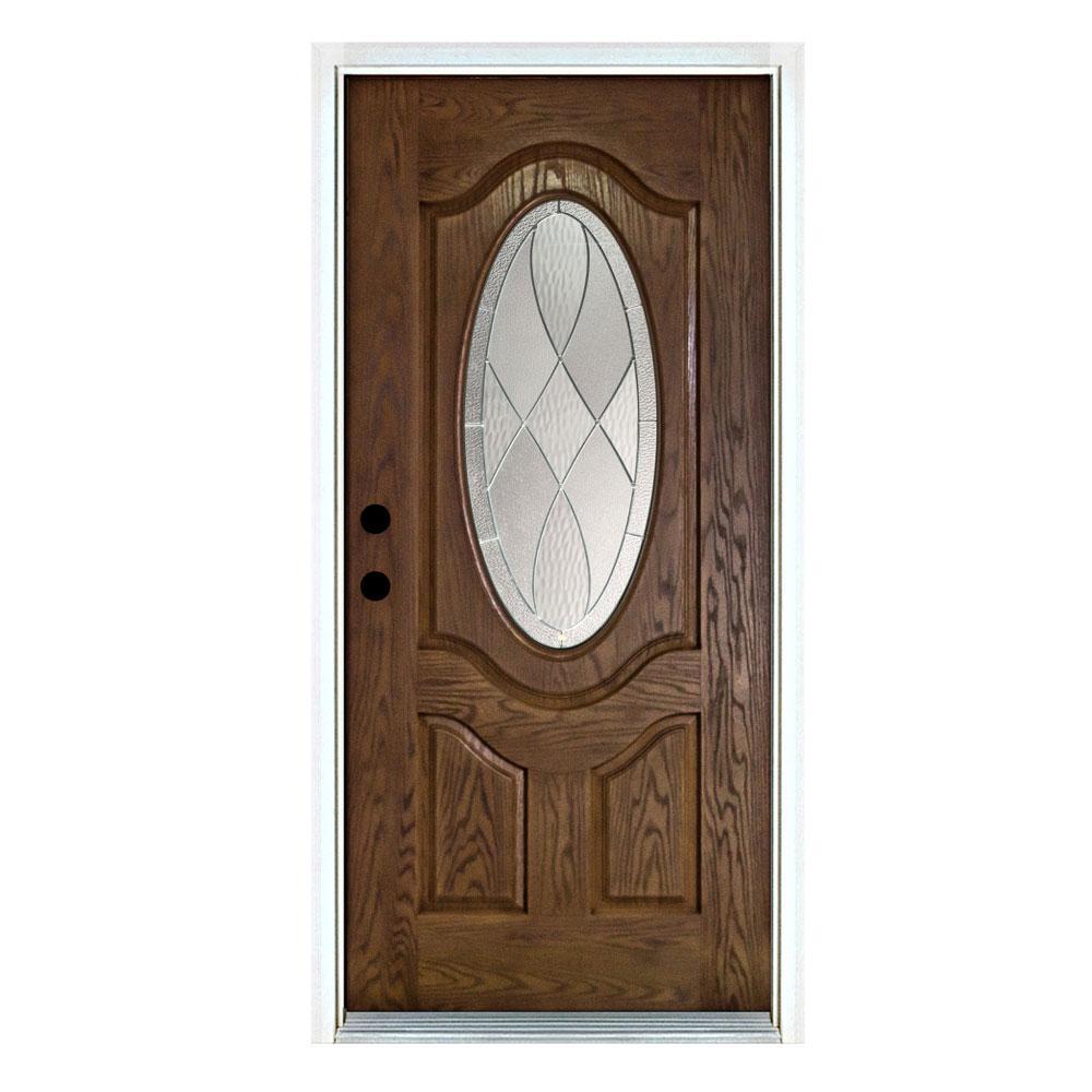 36 in. x 80 in. Medium Oak Right-Hand Inswing 3/4 Oval Decorative-Lite Zen Stained Fiberglass Prehung Front Door