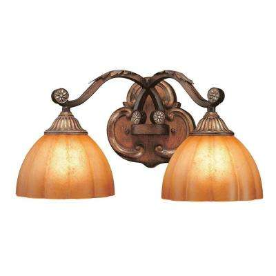 Chateau Deville 2-Light Walnut Bath Light