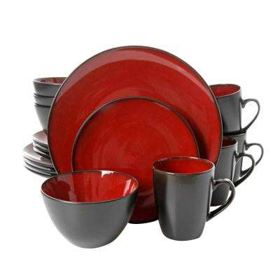 Soho Lounge 16-Piece Burgundy Round Dinnerware Set