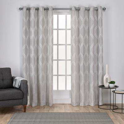 Montrose 54 in. W x 84 in. L Jacquard Grommet Top Curtain Panel in Dove Gray (2 Panels)