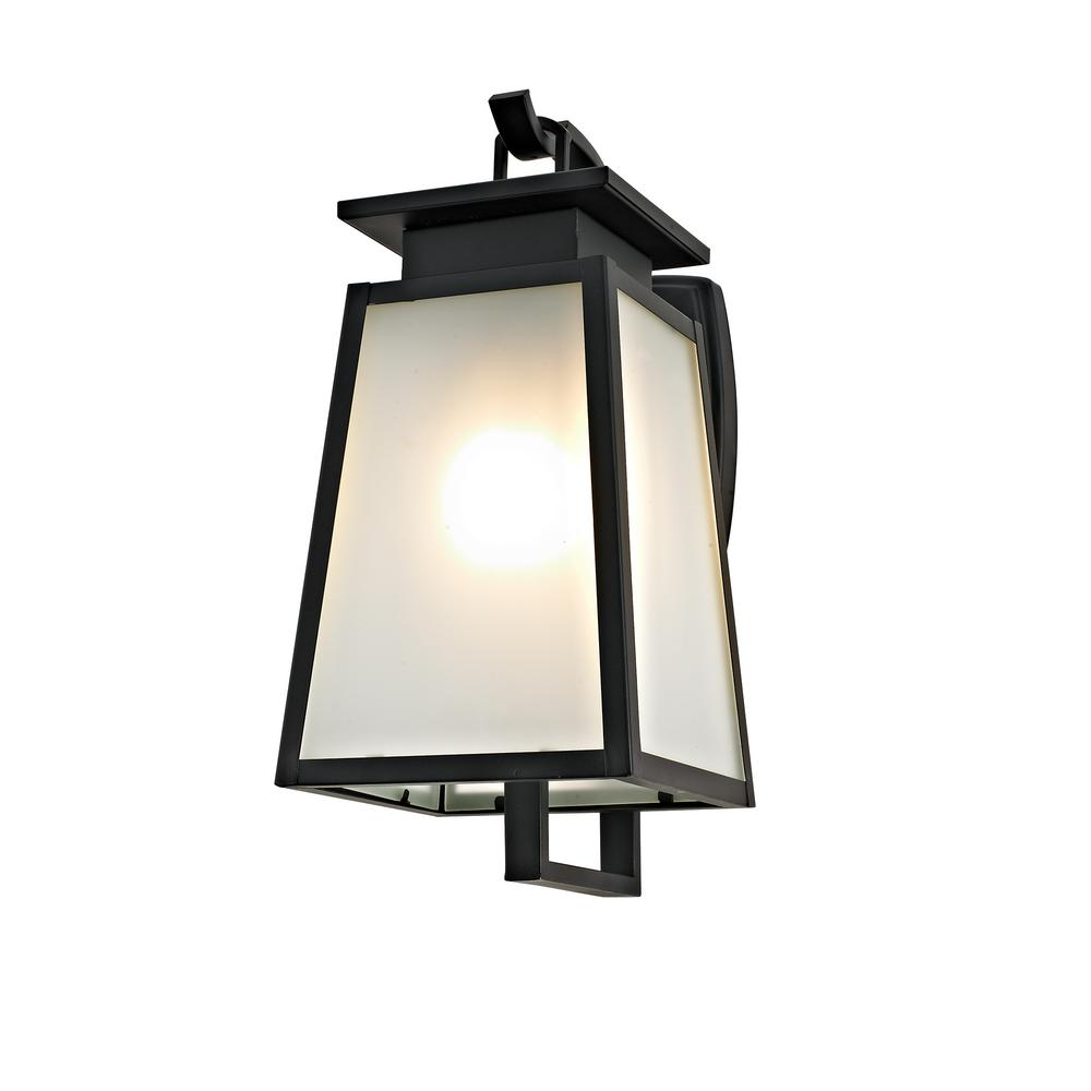 1-Light Black Transitional Outdoor Wall Sconce with Frosted Glass
