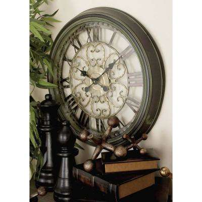 24 in. New Traditional Round Scrollwork Wall Clock