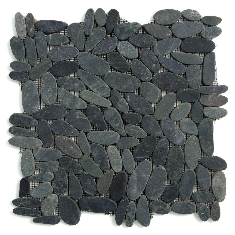 Solistone Kuala Komodo Black 12 In X 7 Mm Pebble Mesh