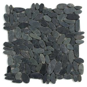 Kuala Komodo Black 12 in. x 12 in. x 12.7 mm Pebble Mesh-Mounted Mosaic Floor and Wall Tile (10 sq. ft. / case)