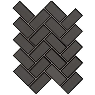 Metallic Gray Bevel Herringbone 11.08 in. x 13.86 in. x 8mm Glass Mesh-Mounted Mosaic Tile (10.6 sq. ft. / case)