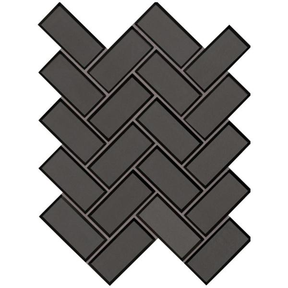 Metallic Gray Bevel Herringbone 11.08 in. x 13.86 in. x 8mm Glass Mesh-Mounted Mosaic Tile (10.6 sq. ft. / case)