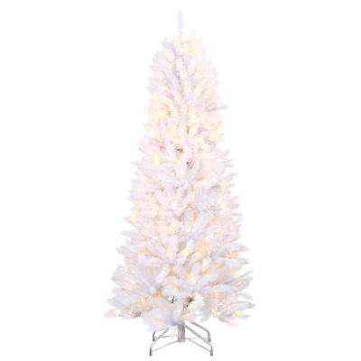 6 ft. Pre-Lit White Fraser with Warm White and Multi-Color-Changing LED Lights
