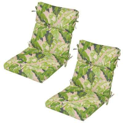 Fern Tropical Outdoor Dining Chair Cushion 2 Pack