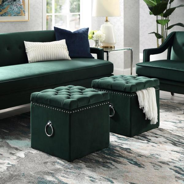 Micella Hunter Green/Chrome Velvet Nailhead Trim Cube Storage Ottoman