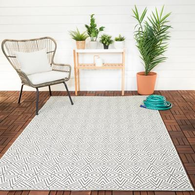Tribal Shapes Ivory 8 ft. x 10 ft. Geometric Indoor/Outdoor Area Rug