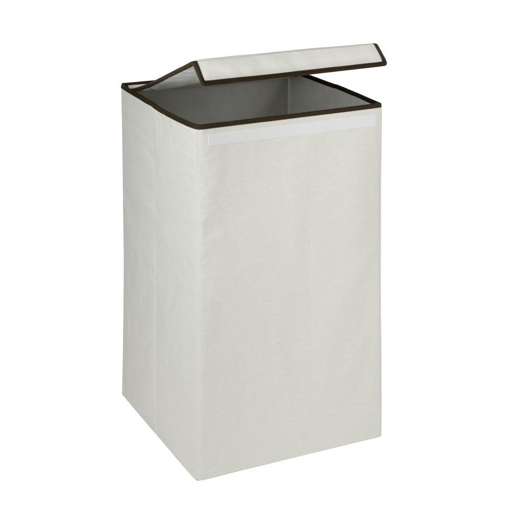 Honey can do square collapsible laundry hamper with lid natural hmp 01135 the home depot - Plastic hamper with lid ...
