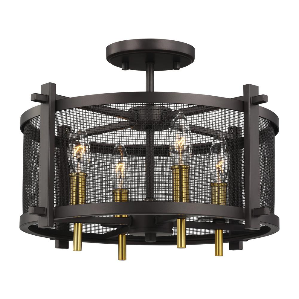 Palmyra 16.35 in. 4-Light Oil Rubbed Bronze and Burnished Brass Semi-Flush