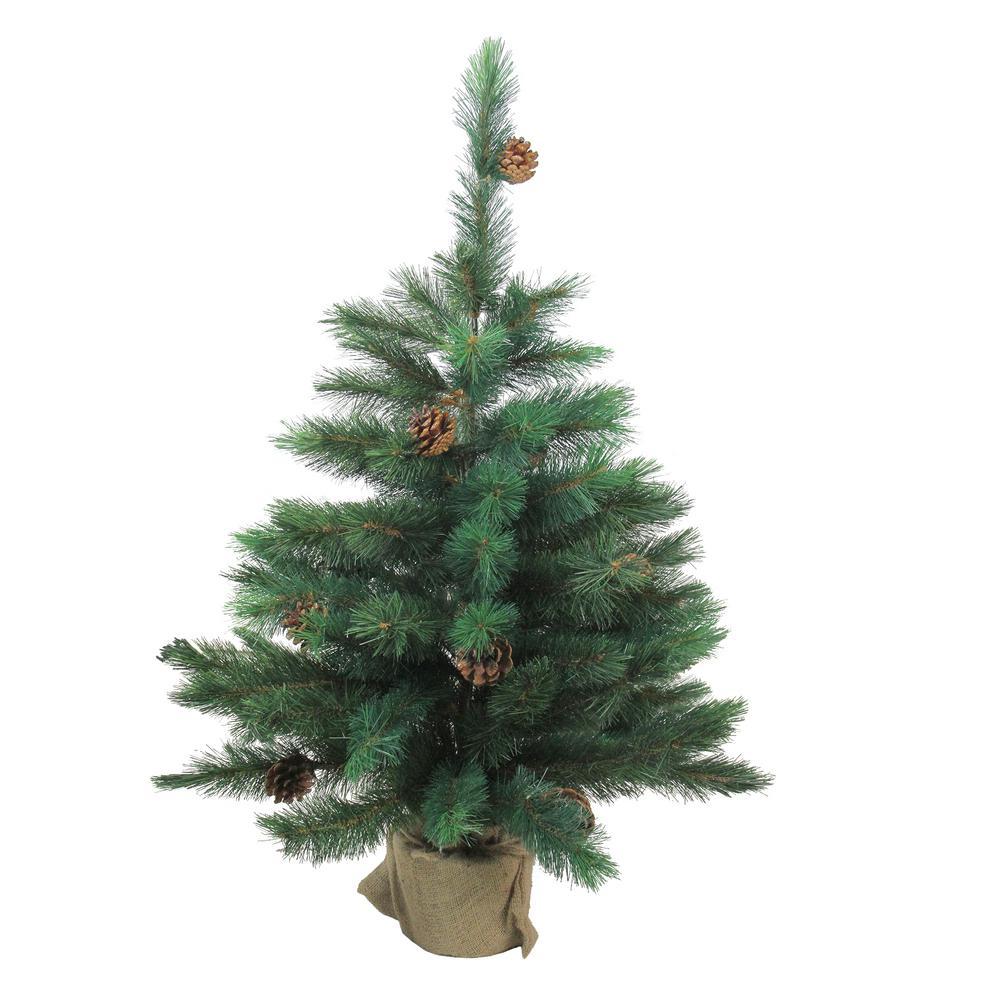 3 ft. Unlit Royal Oregon Pine Artificial Christmas Tree in Burlap Base