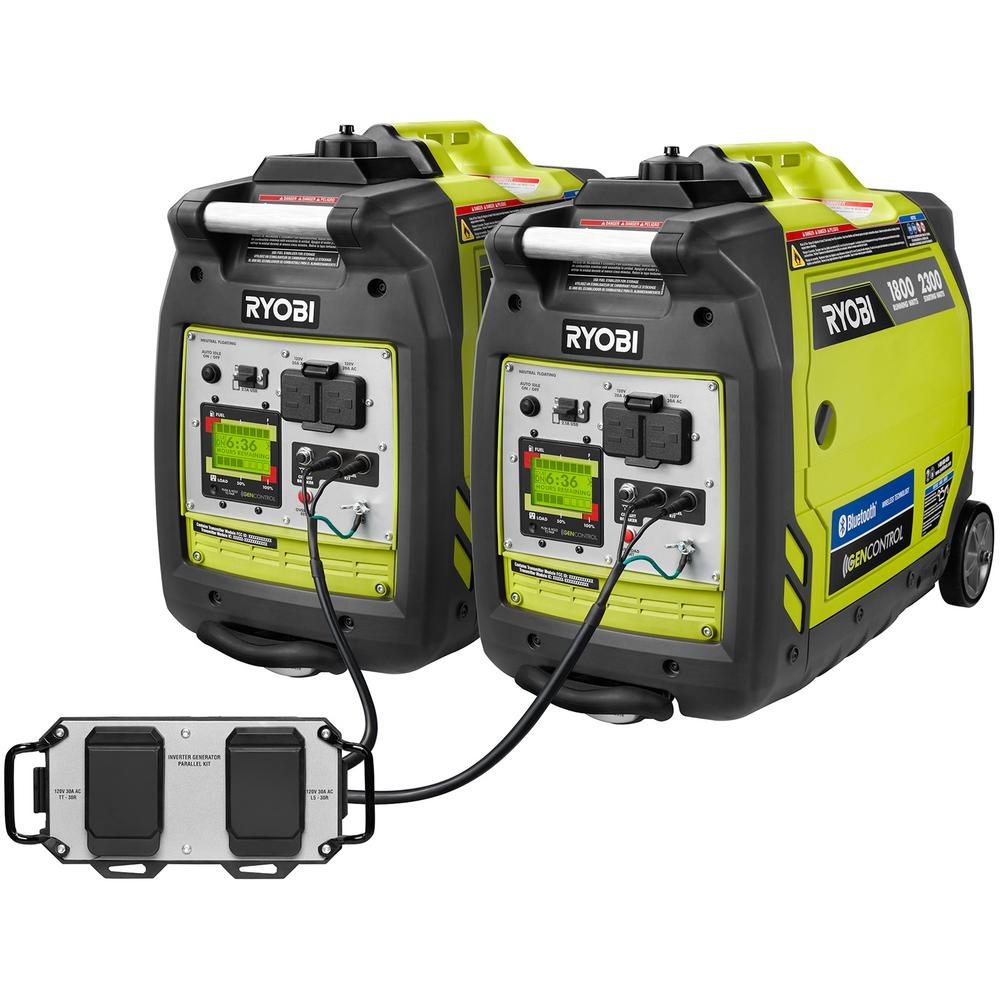 Ryobi Bluetooth 2,300-Watt Super Quiet Gasoline Powered Digital Inverter  Generator with Parallel Combo Kit