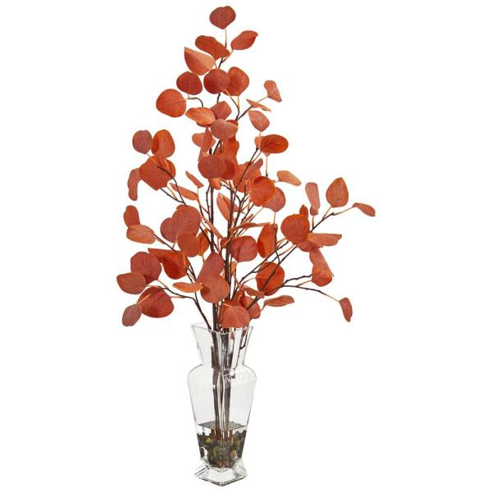 Nearly Natural Indoor Eucalyptus Artificial Arrangement in Glass Vase 1764