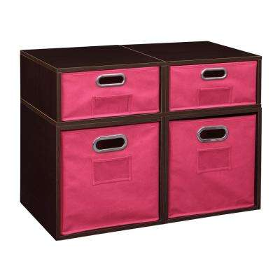 Cubo 26 in. x 19.5 in. Truffle 2 Full-Cube and 2 Half-Cube Organizer with Pink Foldable Storage Bins