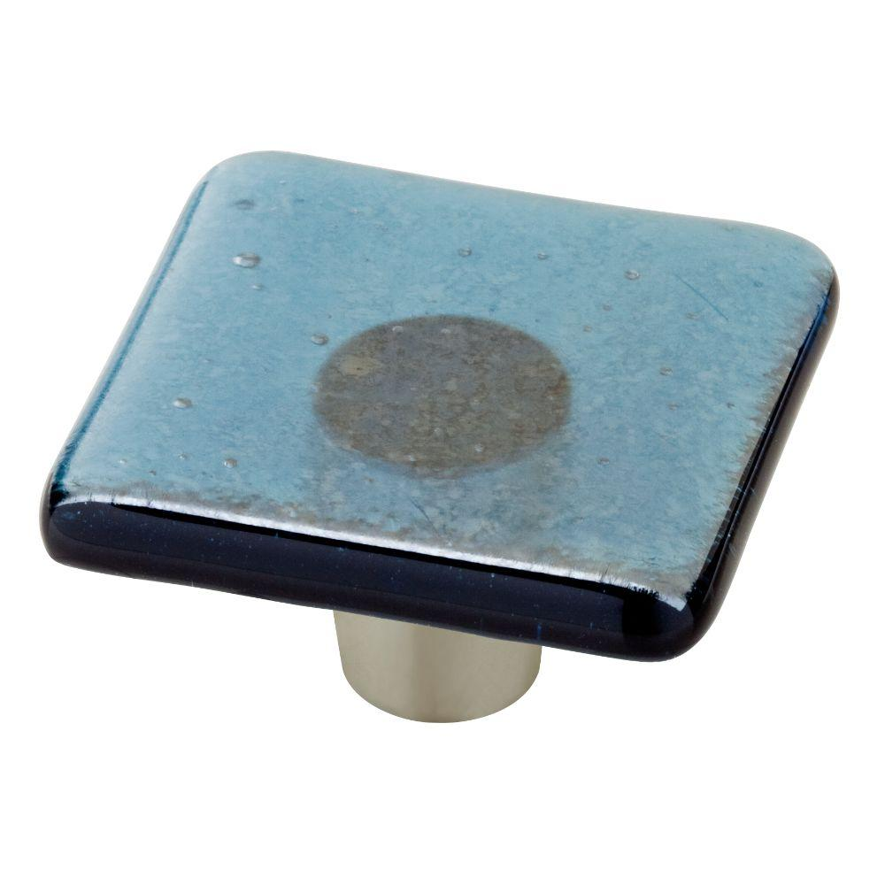 Homegrown Hardware by Liberty 1-1/2 in. Steel Blue Iridescent Transparent Square Glass Cabinet Knob