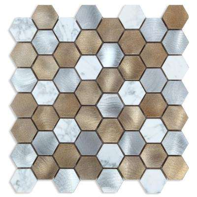 CHENX 11.89 in. x 12.40 in. x 6 mm Aluminum and Stone Mosaic Backsplash in Yellow/ White/Silver (11.18 sq. ft./Case)