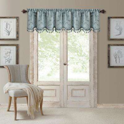 blue window valance turquoise mia blue window scarves valances treatments the home depot