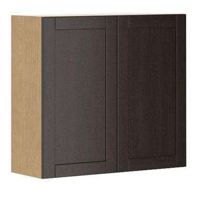 Ready to Assemble 33x30x12.5 in. Barcelona Wall Cabinet in Maple Melamine and Door in Dark Brown