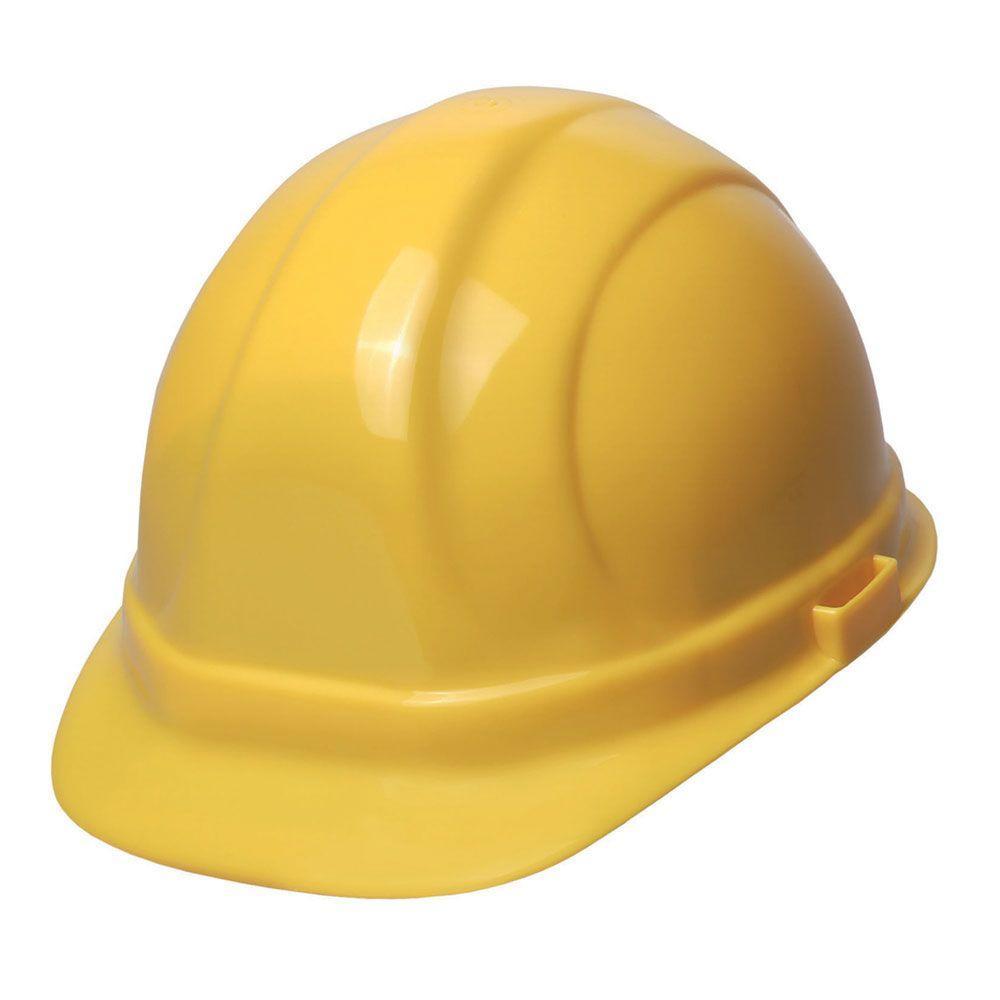 ERB Omega II 6 Point Nylon Suspension Slide-Lock Cap Hard Hat in Hi Viz Yellow