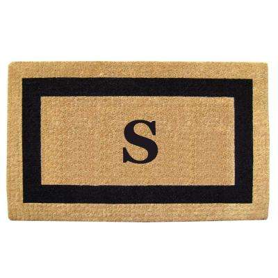 Single Picture Frame Black 38 in. x 60 in. Heavy Duty Coir Monogrammed S Door Mat