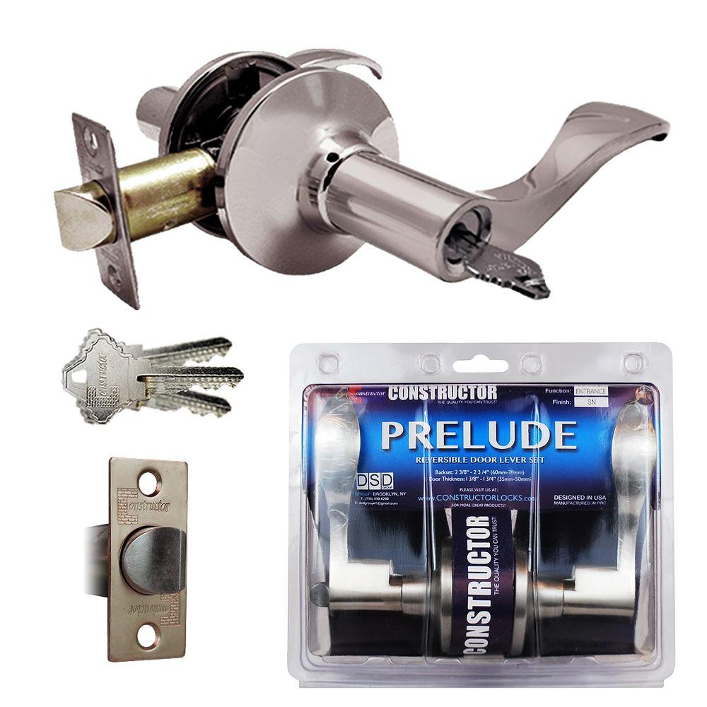 Constructor Satin Nickel Prelude Keyed Entry Door Lever Lock Set