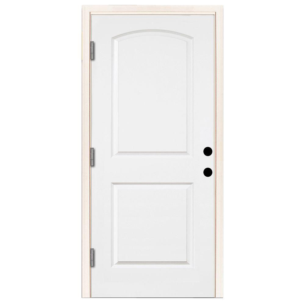 Steves & Sons 32 in. x 80 in. Premium 2-Panel Arch Primed White Steel Prehung Front Door with 32 in. Right-Hand Outswing & 6 in. Wall