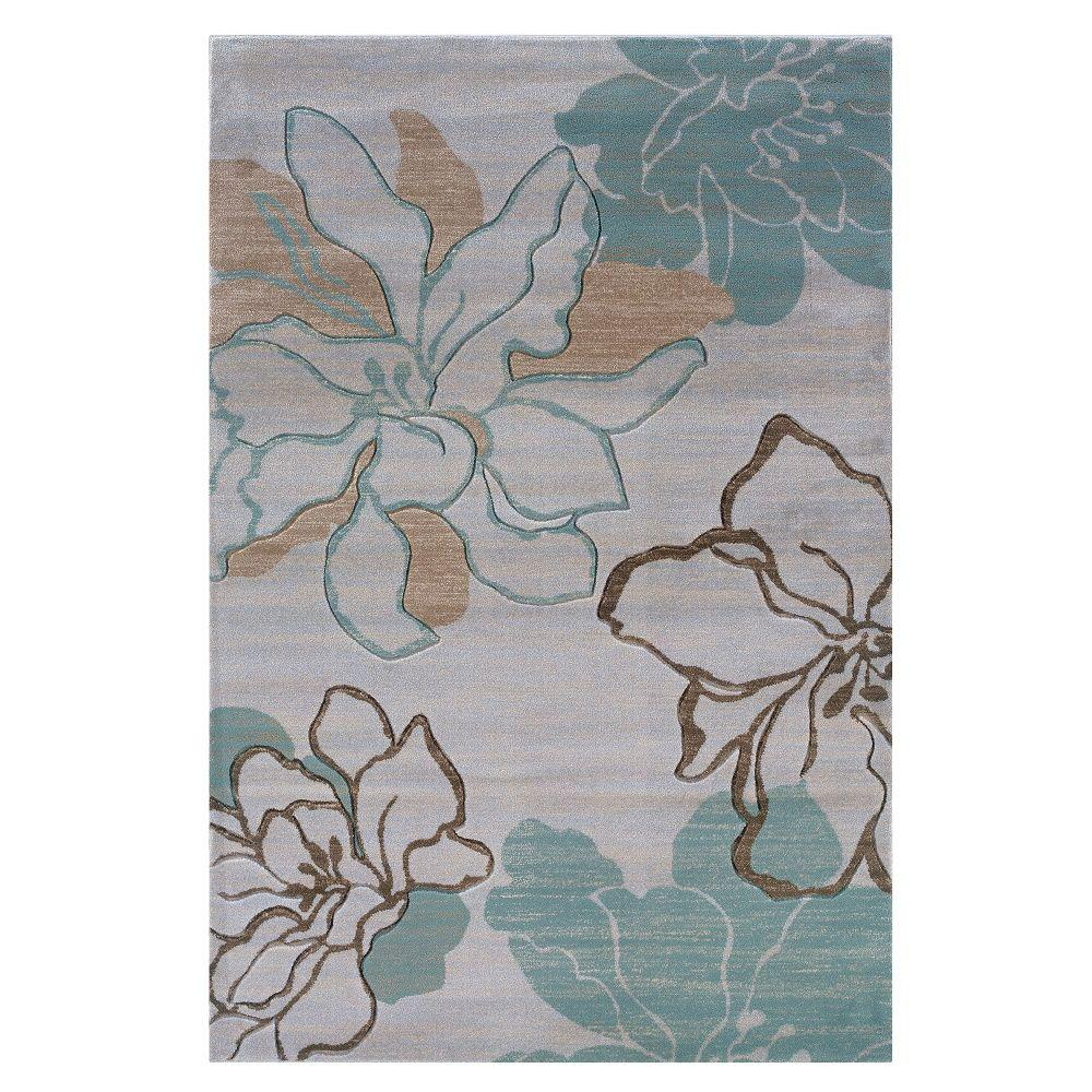 Linon Home Decor Milan Collection Ivory And Turquoise 5 Ft