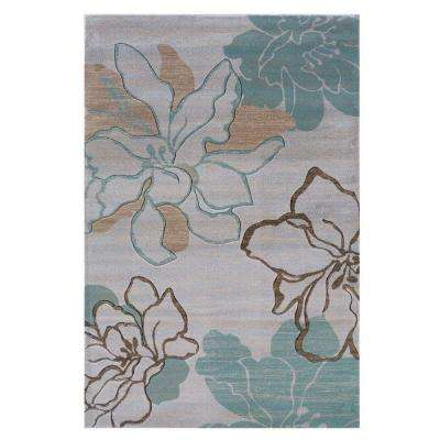 Milan Collection Ivory and Turquoise 8 ft. x 10 ft. Indoor Area Rug