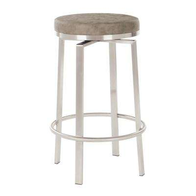 Katy 26 in. Counter Swivel Stool in Retro Taupe Fabric with Stainless Steel Base (2-Pack)