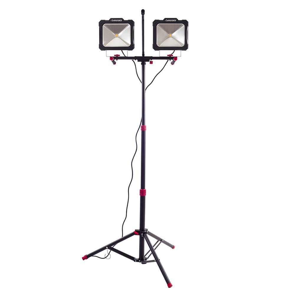 Husky 10000lm Twin Head LED Work Light with Tripod